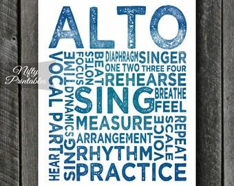 Alto Art Print - INSTANT DOWNLOAD Alto Poster Print for Alto Singers - Music Wall Art - Alto Gifts - Music Gifts - Alto Poster - Singer Gift