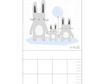 Barre pour pépinière - kids lapin bleu