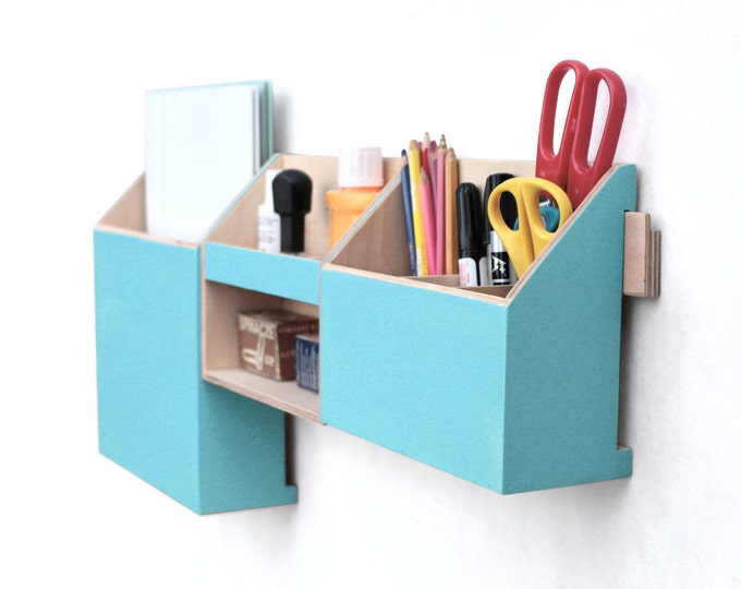 Featured listing image: Wood wall organizer, Turquoise Mail Organizer, Wall hanging Mail Holder, Pen holder, Home Office wall hanger, Christmas gift,