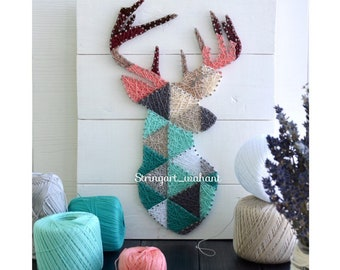 Deer Head Silhouette String Art,geometric Animal,deer On  Boards,scandinavian Decor,