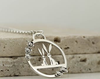 Sterling Silver Rabbit Necklace with Flowers - Bunny Jewellery