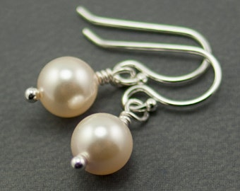 Cream Pearl Earrings June Birthstone Earrings with Swarovski Pearls. Simple Drop Dangle Jewelry.  Bridesmaid Gift Sterling Silver
