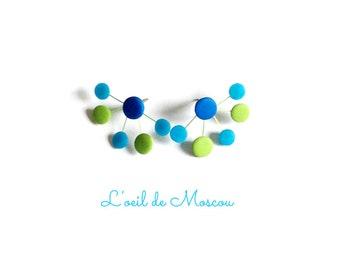 "Earrings ""atom"" blues and Greens"