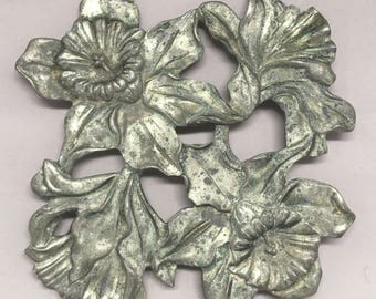 Vintage Seagull Pewter Trivet Daffodil Design Kitchen Wall Decor Hot Plate 1990 Canada Floral