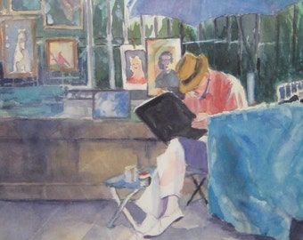 Original framed watercolor painting 14 x 18