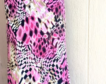 Sheer pull-on skirt elastic waist sheer black lining abstract print vintage