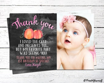 Pumpkin Thank You Card / Personalized Printable 1st Birthday Pumpkin Thank You Card / Pumpkin Thank you note / 1st birthday Thank You