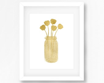 Gold Art Print, Gold Wall Art, Gold Print, Wall Decor, Mason Jar with Flowers Art - Printable - INSTANT DOWNLOAD - Buy 2 Get 1 Free