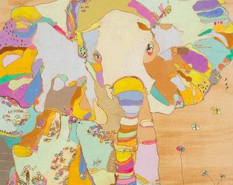 Elephant Funk Babe paper print by Jennifer Mercede 14x11in