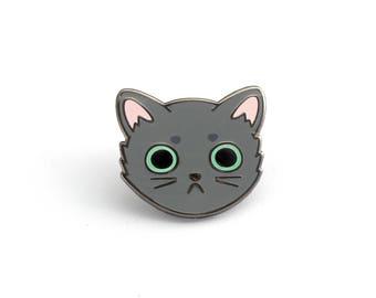 Gray Cat Face enamel pin (cute cat pin hard enamel cat pin lapel pin badge kitten pin gray cat pin cat lady personalized cat lover gift)