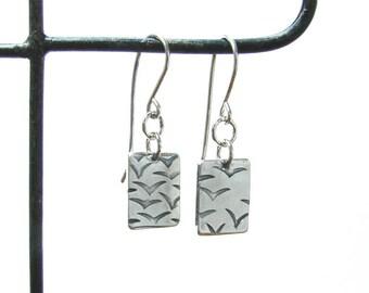 flock of birds earrings, silver bird rectangle earrings