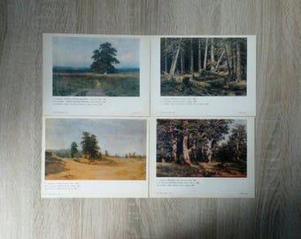 Ivan Shishkin reproductions paintigs, 15 cartes postales en lot, cartes postales set de cartes postales anciennes, Ivan Shiskin peintures, cartes postales avec forêt