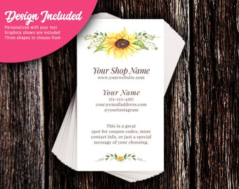 Business Cards - Custom Business Cards - Personalized Business Cards - Mommy Calling Cards - Summer Sunflower - P0117-7