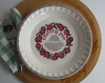 Royal China Company Ceramic Cherry Pie Plate u2013 with Classic Cherry Pie Recipe 1980u0027s & Cherry pie plate | Etsy