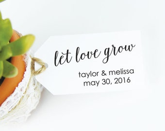 Let Love Grow - Wedding Favor Tags - Plant Favor Tags - Seed Favor - Seed Wedding Favors - Party Favor Tags - SMALL