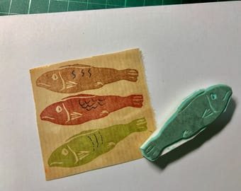 Fish hand carved rubber stamp- cooking rubber stamp