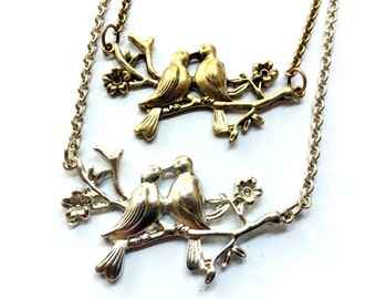 Kissing Lovebirds Necklace: birds on a branch charm, animal jewelry, wedding accessory