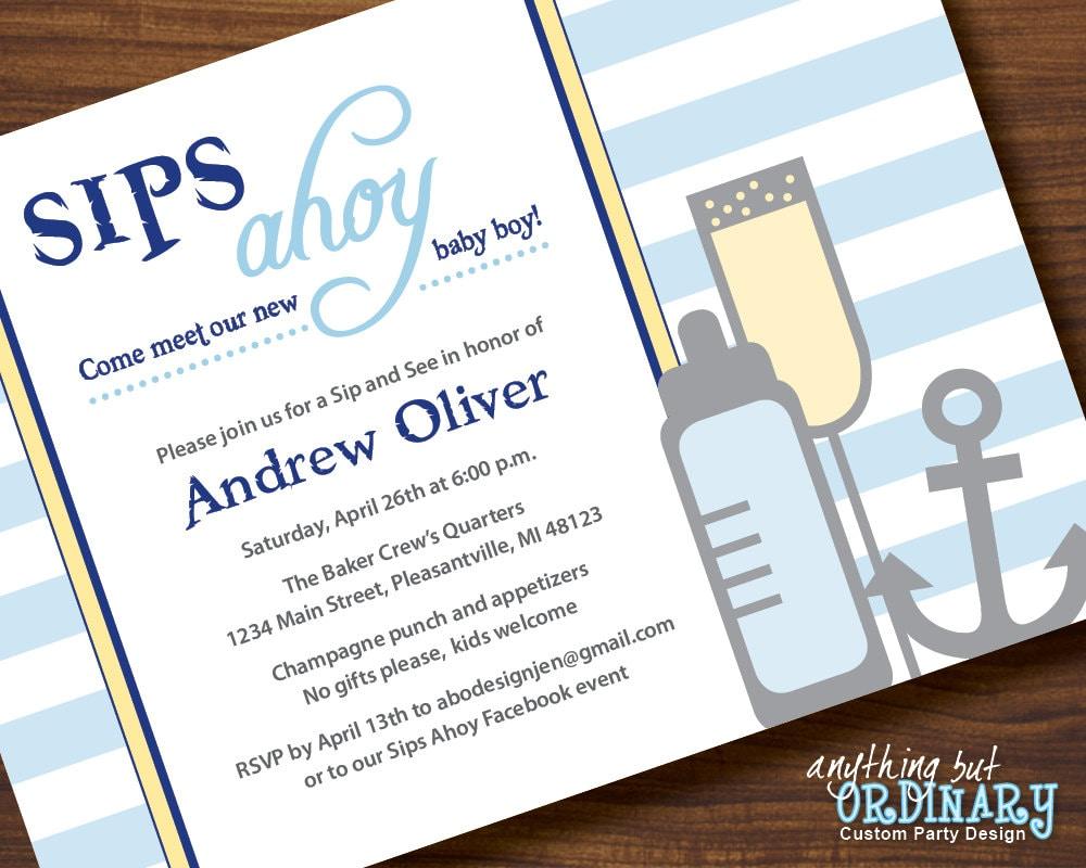 Sips Ahoy DIY Sip and See Invitation Nautical Baby Shower