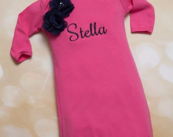 Personalized  Baby Girl Gown  Hot Pink Embroidered Infant Gown  and Matching Headband