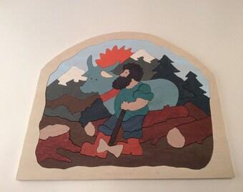 Wood puzzle LUMBERJACK HANDMADE