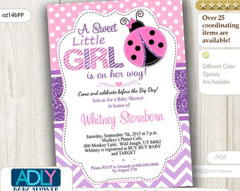 Pink and Purple Ladybug girl baby shower invitation, glitter purple polka, chevron. Sweet Little Girl is on her way INSTANT DOWNLOAD-oz14bPP