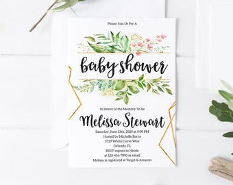 Greenery Baby Shower Invitation Printable Greenery Woodland Baby Shower Invitation Greenery Gold Geometric Baby Shower Invite Gender Neutral