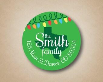 State Address Label Christmas Return Address Sticker Christmas Lights State Shape Green Labels Christmas Card Labels Envelope Seals Custom