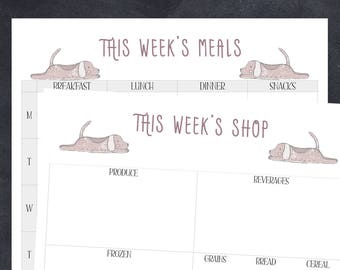 DOWNLOAD Printable Weekly Meal Plan Grocery Shopping List Organize Lists Full Page Planning Planner Easy Write To Do PDF DIY Print
