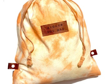 Children's Toy Bag - Library Bag - Custom Name - Personalised Leather Patch - Hand dyed Shibori Bag -  Drawstring Bag - Backpack - Toy Sack
