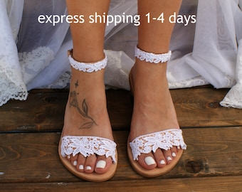 "Handmade to order/ lace sandals/ bridal sandals/ wedding shoes/  wedding sandals/ white lace sandals/ beach sandals/ ""ROMANTIC LACE"""