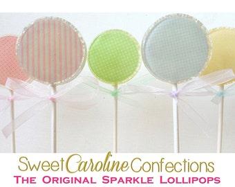 Pastel Lollipops, Easter Favors, Easter Candy, Lollipops, Sparkle Lollipops, Sweet Caroline Confections-6/Set