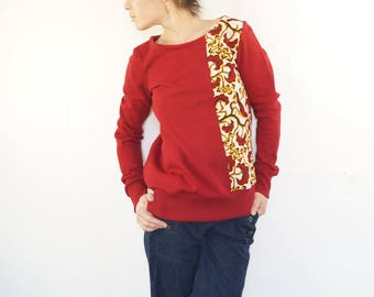 red pepper and fax organic cotton fleece, round neck Sweatshirt