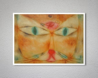 Cat and Bird by Paul Klee, 1928 - Poster Paper, Sticker or Canvas Print / Gift Idea