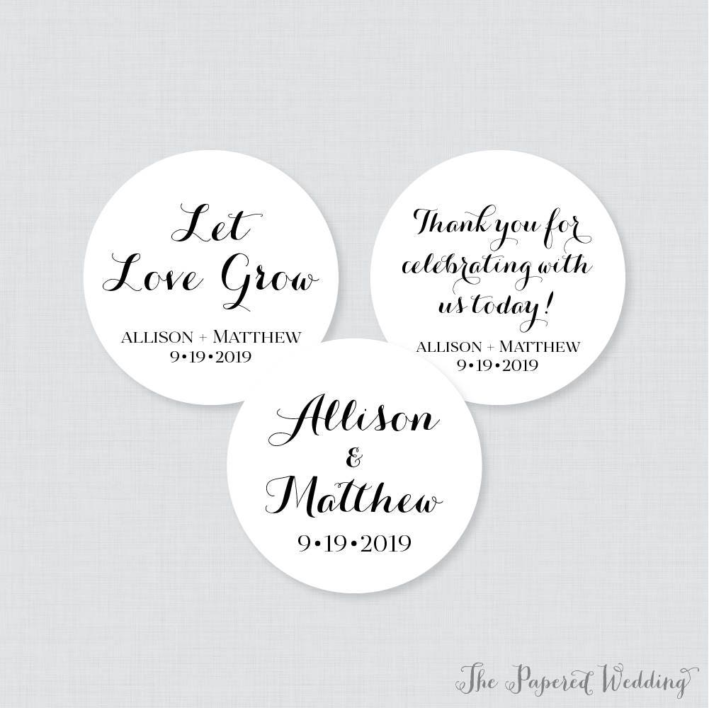 Printable OR Printed Wedding Stickers Black and White Circle
