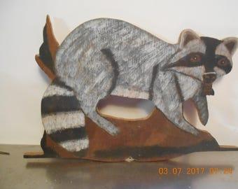 Homemade, Hand Painted Wood Raccoon ~ 1980's