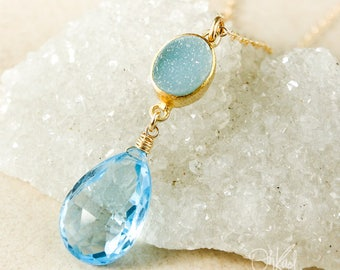 Blue Druzy & Sky Blue Topaz Teardrop Necklace - Something Blue - Icy Blue Druzy