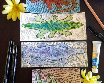 Lake Monster Watercolor Original Painting| Cryptid Drawing| Loch Ness Illustration| Colorful Cryptozoolgy Animal Artwork| Nessie, Sea Beasts