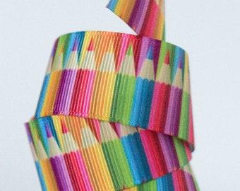 "Colored Pencils 1"" Grosgrain Ribbon"