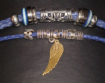 Blue Leather Tri-Layer Bracelet with Wing Pendant