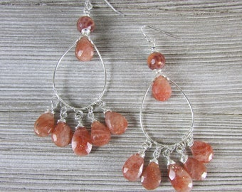 Sunstone Gemstone Chandelier Earring, Gypsy Earrings, Long Dangle, Wire Wrapped