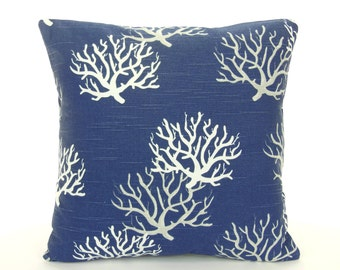 Navy White Gray Coastal Throw Pillow Cushion COVER Navy White Coral ALL SIZES Nautical Beach Couch Pillow Cottage Patio Navy Oxford Pillow