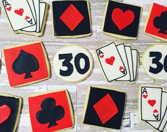 1 dozen poker vegas casino theme cookies!