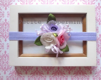 Lavender Baby headband, baby girl headband, newborn headband, toddler headband,Lavender Baby Hair Bow, Baby head band,baby girl head band