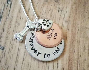 Dog Memorial, Dog Necklace, Memorial Gift, Pet Necklace, Dog Jewelry, Hand Stamped, Custom Jewelry, Personalized, Cat Necklace, Cat Memorial