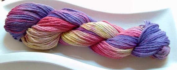 Arizona Sunset- 100 Organic Cotton, Hand Dyed Worsted Weight Variegated Yarn