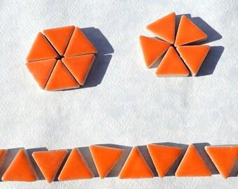 Orange Mini Triangles Mosaic Tiles - 50g Ceramic - 15mm
