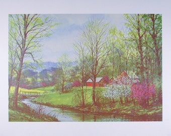 SPRING PRINT, Spring Art, Spring Poster, Art Print, Wall Art, Wall Decor, Poster, Home Decor, Four Seasons Art, Spring Decor, Barns, Creek