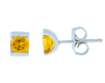 0.50 Ct Natural Citrine Stud Earrings .925 Sterling Silver Rhodium Finish