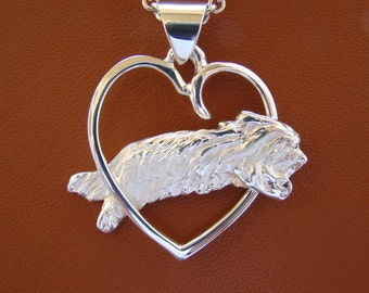 Sterling Silver Bearded Collie Jumping Study Through A Free Form Heart Pendant