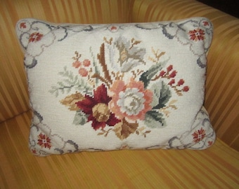 Vintage Lovely Wool Floral Needlepoint Accent Throw Pillow